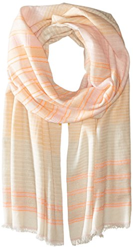 Michael Stars Women's Speckle and Stripe Scarf, Coral Sun, One Size