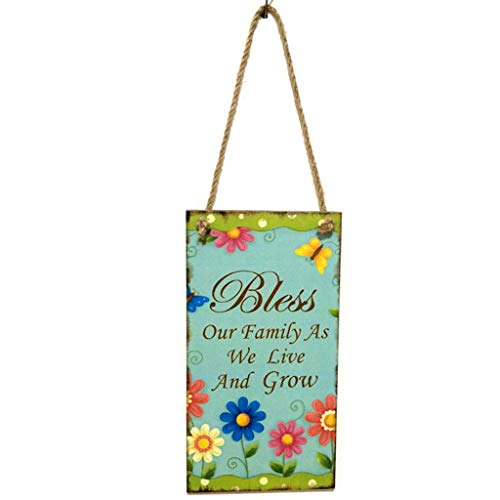 - Mikilon Easter Wooden Hanging Plaque Festival Wall Door Decorative Sign Hanger Happy Easter with Flower Pattern