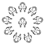 Autmatch Pack of 10 M6 1/4 Inch 304 Stainless Steel Saddle Wire Rope Cable Clip Clamp Fastener Silver Tone (6MM)