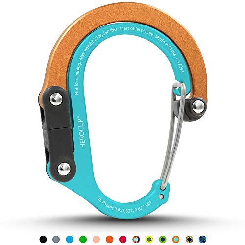 Solar Carabiner - HEROCLIP Non-Locking Carabiner Rotating Hook Clip - Strong Clips for Camping, Fishing, Hiking, Travel, Backpacking & Outdoor. Aluminum D Shape Hooks (Small) (Solar Flare)