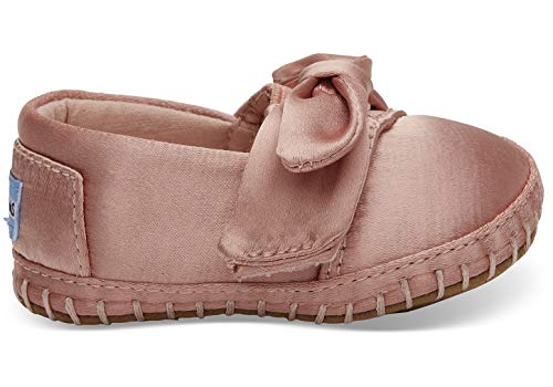 TOMS Kids Baby Girl's Crib Alpargata (Infant/Toddler) Rose Cloud Satin/Bow 4 M US -