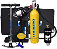 Diving Tank Scuba Gear with Air Pump, Professional 1L Mini Scuba Oxygen Cylinder Kit with Adapter, Underwater