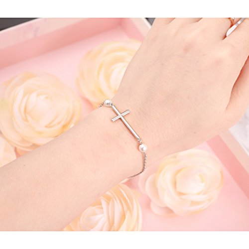 S925 Sterling Silver Sideways Cross Adjustable Link Bracelet for Women ''Mother's Day Gift'' by SILVER MOUNTAIN (Image #1)