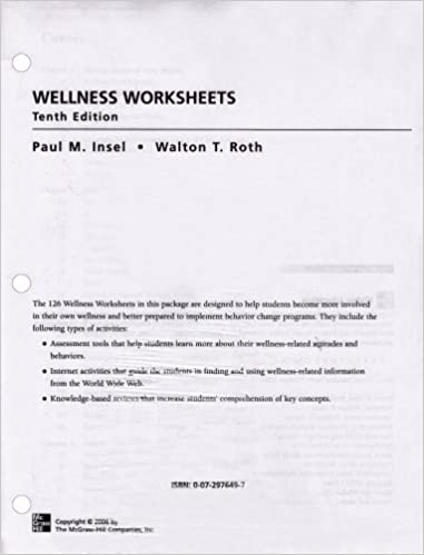 Wellness Worksheets Paul Insel Walton Roth 9780072976496 Amazon