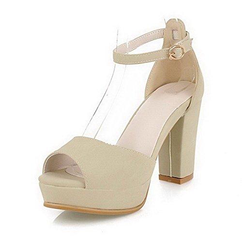 VogueZone009 Women High-Heels Solid Buckle PU Peep Toe Sandals Beige