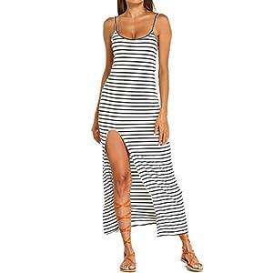 Kidsform Women Striped Maxi Dress Sleeveless Scoop Neck Summer Causal Beach Party Sundress Long Dresses