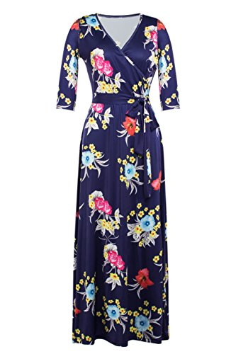 Afibi Womens Bohemian 3/4 Sleeve Faux Wrap Maxi Dress With Belt (X-Large, Design - Floral Belt