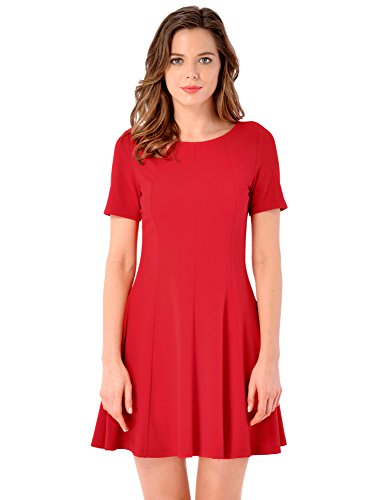 womens-back-crisscross-short-sleeves-red-a-line-skater-casual-dress-size-l
