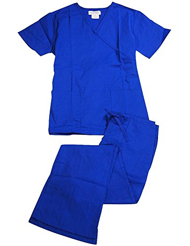 (Natural Uniforms - Women's Mock Wrap/Flare Pant Medical Scrubs Set (Dark Royal Blue, Medium) )