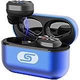 TWS Bluetooth 5.0 wireless earbuds headset SZSAGO W5s true wireless earphones for iPHONE/SAMSUNG IPX5 waterproof smart bluetooth headphones Headsets with patented intelligent Metal Charging case(blue)