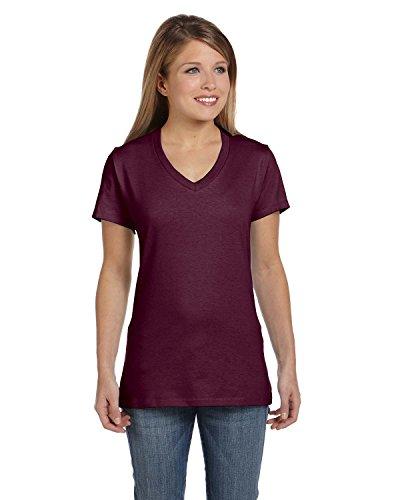 Maroon Short Sleeve Tee - Hanes Women's Short Sleeve Nano-T V-Neck Tee, Maroon, Large