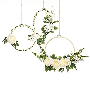 UNIQOOO Set of 3 Floral Hoops Wreaths   Modern Chic Artificial White Peony Fern Flower Wall Hoop Garland   Perfect for Wedding Decor Bridal Shower Farmhouse Decoration Photo Prop Welcome Wreath 3