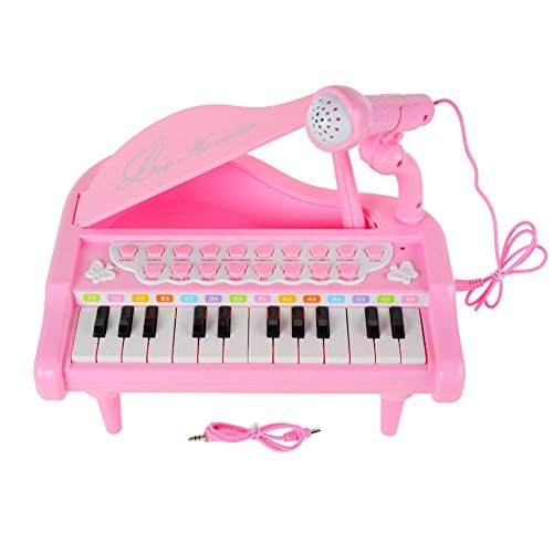 UPC 612046079089, Piano Keyboard Toy 24 Keys Pink Electronic Musical Multifunctional Instruments with Microphone