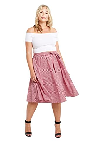 Women's Gingham Circle High Waist Bow Tie Cotton Midi Plus Size Skirt USA Red 1XL - Circle Print Tie