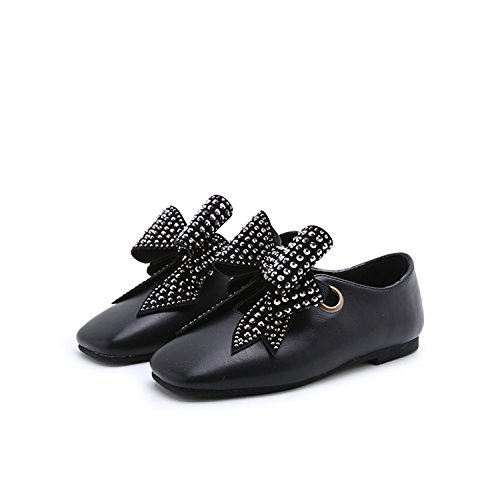 Price comparison product image Baby Girl Shoe Elegant Kid Princess Flats Square Toe Rivets Child Bow Toddler Silp-On Black 2