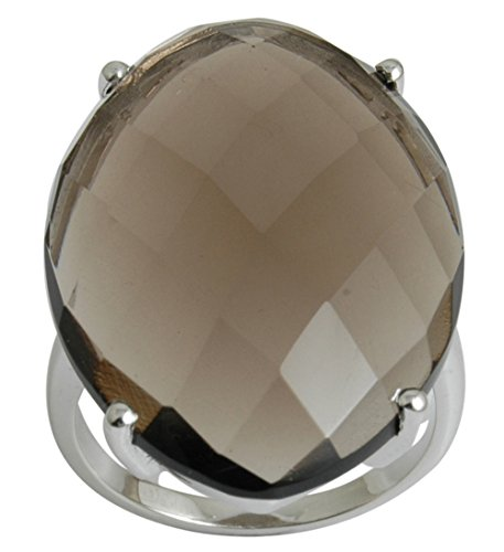 Banithani 925 Sterling Silver Faceted Smoky Topaz Stone Ring Women Fashion Band (Faceted Oval Smoky Quartz Ring)