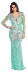 Long Sleeve Rhinestone Formal Gown