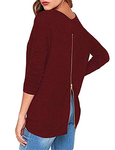 (Womens Tops and Blouses for Party Sexy Open Back Zipper Crew Neck Long Sleeve Tee Shirts Wine Red M)
