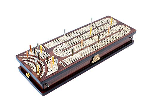 House of Cribbage - Continuous Cribbage Board / Box Inlaid in Rosewood / Maple : 4 Track - Side Drawers with Score Marking Fields for Skunks, Corners and Won Games ()