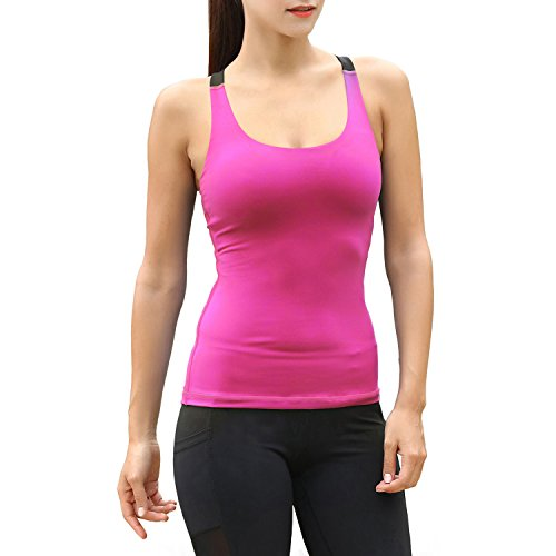 Matymats Woman's Sport Racer Tank Top Built in Shelf Bra Fast Dry (Small (Tag Size 4), Pinksicle)