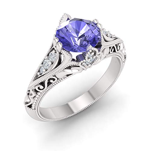 Diamondere Natural and Certified Tanzanite and Diamond Engagement Ring in 14K White Gold | 1.23 Carat Vintage Inspired Ring for Women, US Size ()