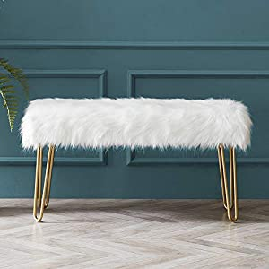 Cardinal & Crest Modern Rectangular Ottoman Footrest Stool – Luxurious Faux Fur Covered Seat w/Sturdy Gold Hairpin Legs – Easy Assembly Accent Furniture Perfect for Use in Any Room – White Color