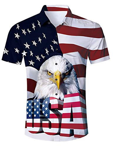 Goodstoworld Men Button Down 4 July Shirts Novelty Graphic Lightweight USA Tees Short Sleeve Vacation 3D Hawaiian Aloha Dress Blouse Cruise Shirt Top Medium -
