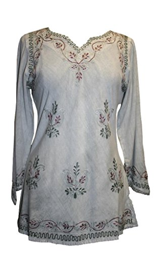 127 B Agan Traders Medieval Vintage Top Blouse (2X; Sea Green - Top Embroidered Sea Green