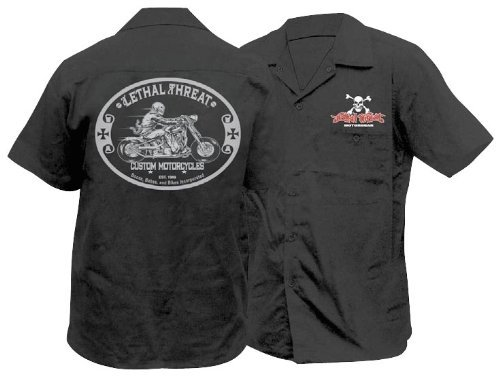 Lethal Threat Designs LT Custom Motorcycle Work Shirt Black MD