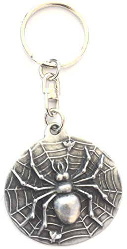 Solid Pewter Spider Keychain with Gift Pouch - Pewter Spider Charm