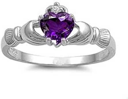 9mm 2ctw Sterling Silver February Purple Simulated Amethyst Heart Royal Claddagh Irish Ring-size 4-10