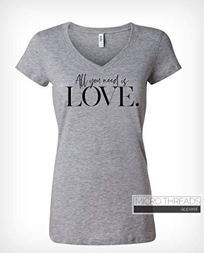 All You Need Is Love - Women's VNeck Lyrics TShirt - Words On A Shirt