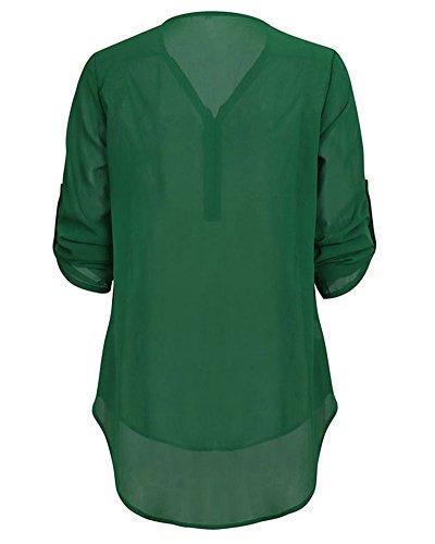 Manches V Longues Blouse Femme Top Tunique Vert Col Chemisier Zipp Mousseline ZhuiKun wtqYEpx