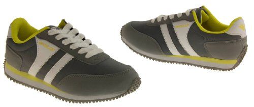 Womens GOLA Casual Fashion Pumps Shoes Retro Classic Skate Flat Walking Trainers Grey, Yellow & White