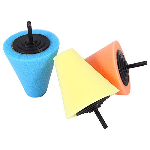 Sponge Polishing Cone Shaped Polishing Pads for wheels - Use with Power Drill-Pack of 3 Yosoo