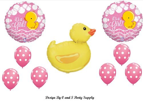 IT'S A GIRL RUBBER DUCKY BABY SHOWER Balloons Decorations Supplies Duck (Baby Shower Balloon Decorations)