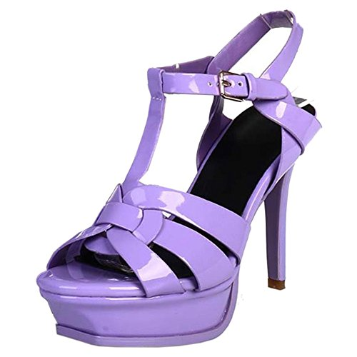 strap Toe Heels Women T Wedding Slingback Sandals Platform Stiletto Fashion Purple Taoffen Shoes Open wqBgRIB