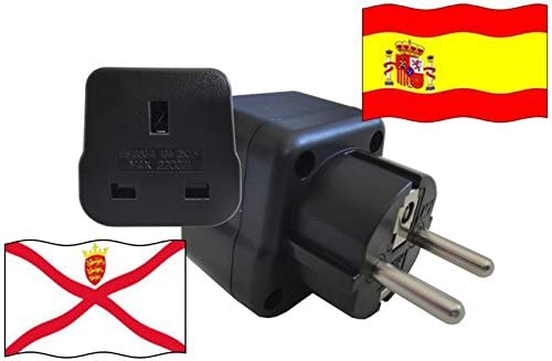 Adaptador de Viaje ESPAÑA a Jersey ES - JE Travel Plug ESPAÑA-Viaje (Protección contacto, 2200Watt): Amazon.es: Bricolaje y herramientas