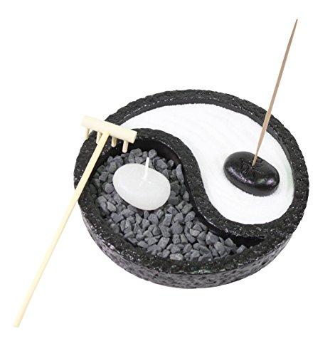 Tabletop Taiji Yin Yang Zen Garden Sand Rock Candle Incense Burner Gifr & Home Decor