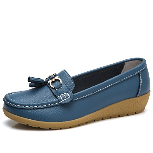 NineCiFun Womens Leather Tassel Loafers Slip on Work Shoes(7.5 B(M) US,Blue)