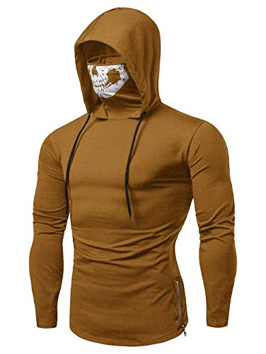 EXCOO Zipper Drawstring Skull Mask Hoodie Light Khaki