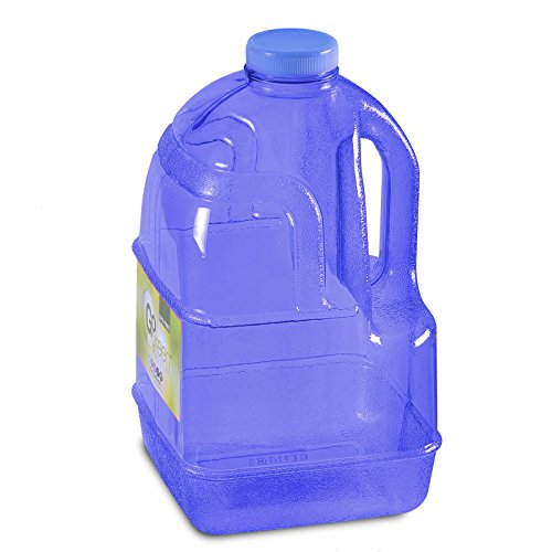 "1 Gallon BPA FREE Reusable Plastic Drinking Water Big Mouth""Dairy"" Bottle Jug Container with Holder"