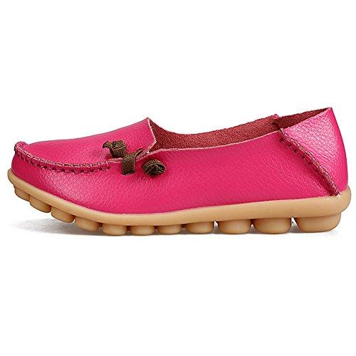 Lingtom Femmes Casual Mocassins Véritable Plat Conduite Mocassins Chaussures Rouge 01