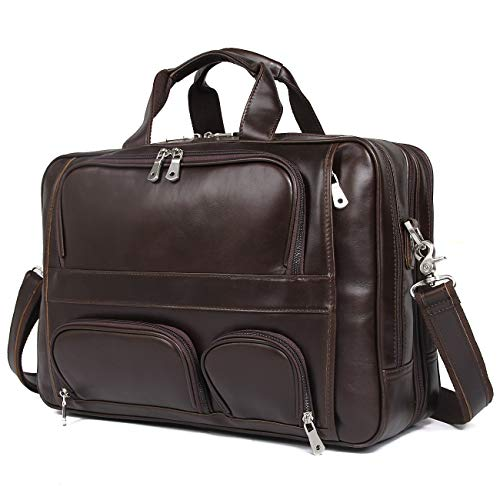 Texbo Men's Genuine Polished Leather Briefcase Laptop Large Bag