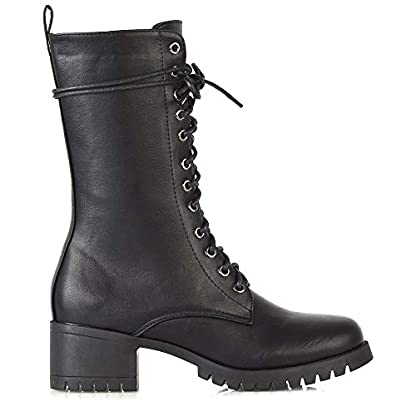 ESSEX GLAM Womens Lace Up Mid Calf Chunky Block Low Heel Boots Ladies Grip Sole Platform Combat Shoes 4