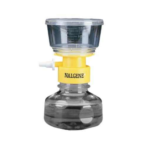 Nalgene MF75 Series Polystyrene Lab Filter Unit, Yellow Collar, 0.2 Micron, 50mm Membrane Diameter, 150mL Capacity (Case of 12) by Nalgene