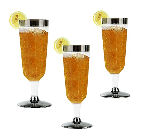 High Quality Hard Plastic Champagne Flutes With Silver Rim And Base. 5.5 Ounce Capacity, Set of 16 Disposable Glass Drinkware Stemware.