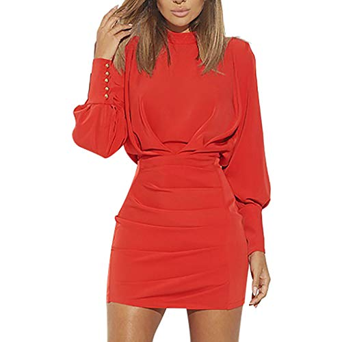 Sunhusing Women's Solid Color O-Neck Buttons Bundle Long Sleeve Dress Sexy Backless High Waist Mini Dress Red ()