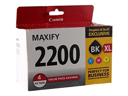 Canon PGI-2200 XL Black High Yield/PGI-2200 Color Cyan Magenta Yellow Standard Ink Cartridges (9255B005), 4 Inks Tanks ()
