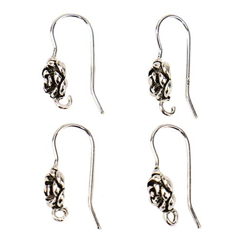 JETEHO 2 Pairs 925 Sterling Silver Rose Flower French Hook EarWires Earring Connector Findings for Jewelry Making (Antique Silver)